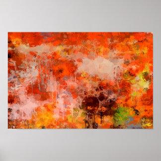 Extracto anaranjado del amarillo de los marrones póster