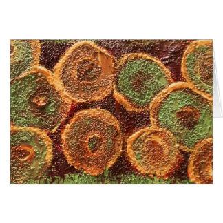 Extracto anaranjado del verde amarillo, en blanco tarjeta de felicitación