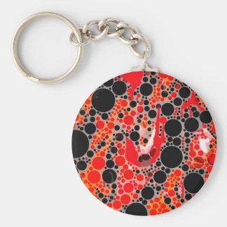 Extracto anaranjado rojo fluorescente llavero redondo tipo pin