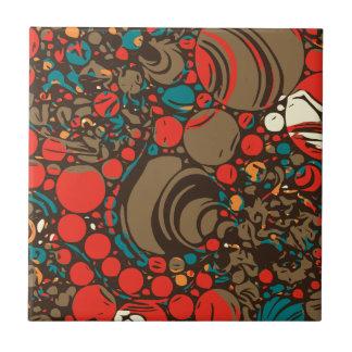 Extracto anaranjado rojo marrón azulejo cuadrado pequeño