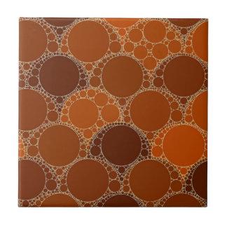 Extracto anaranjado rústico del círculo de Brown Azulejo Cuadrado Pequeño