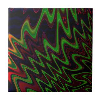 Extracto anaranjado verde ondulado azulejo cuadrado pequeño