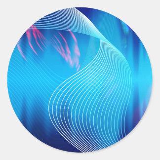 Extracto audio eléctrico azul de la forma de onda pegatina redonda