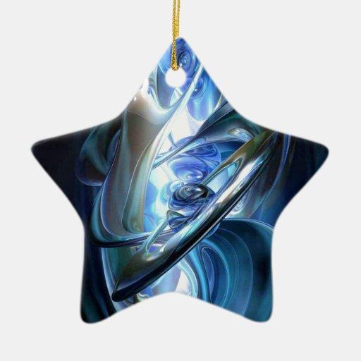 Extracto azul adorno navideño de cerámica en forma de estrella