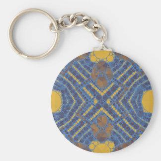 Extracto azul amarillo de Bling Llavero Redondo Tipo Pin