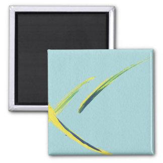Extracto azul, amarillo y verde de la acuarela imán cuadrado