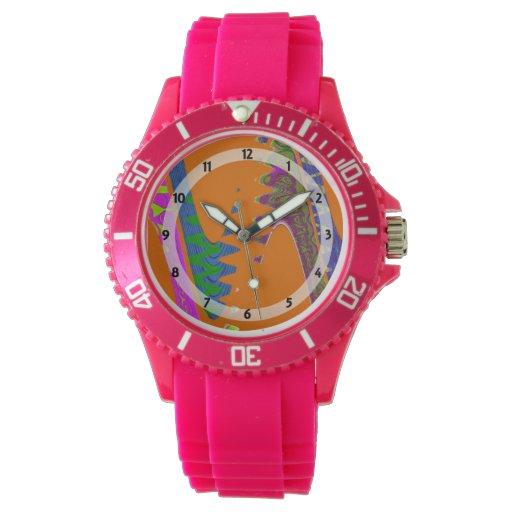 extracto azul anaranjado colorido reloj de mano