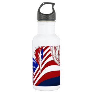 Extracto azul blanco rojo americano de la bandera botella de agua de acero inoxidable