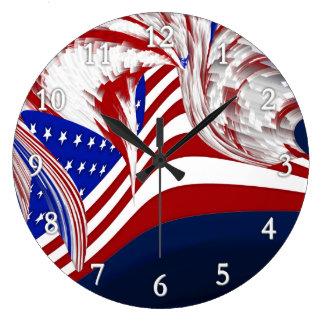 Extracto azul blanco rojo americano de la bandera reloj redondo grande