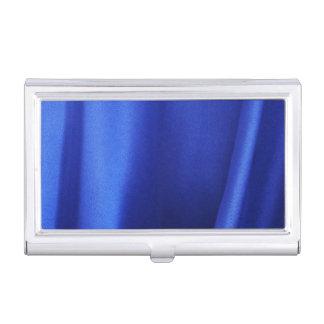 Extracto azul de la tela de seda que fluye cajas de tarjetas de presentación