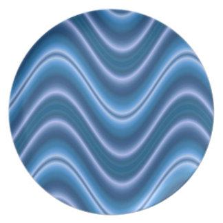 extracto azul elegante de la onda plato de cena