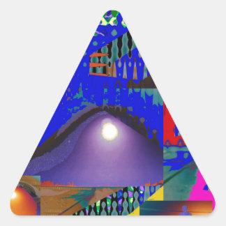 Extracto azul hermoso del alcohol ilegal pegatina triangular