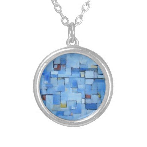 Extracto azul original del collar del arte moderno