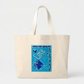 Extracto azul precioso bolsa tela grande