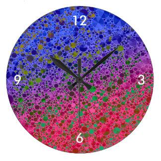 Extracto azul rosado fluorescente reloj redondo grande