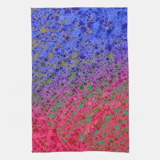 Extracto azul rosado fluorescente toalla de cocina