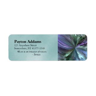 Extracto azul y púrpura del movimiento del cepillo etiqueta de remite