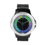 Extracto azulverde colorido del chapoteo relojes de pulsera