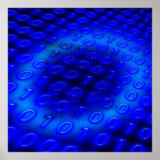 Extracto binario azul de neón póster
