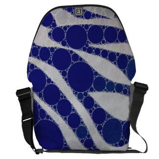 Extracto blanco azul de la cebra del círculo bolsa de mensajeria