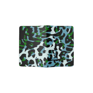 Extracto blanco del guepardo del verde azul porta pasaporte