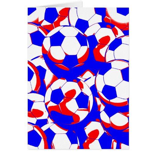 Extracto blanco y azul rojo de los balones de fútb tarjeta