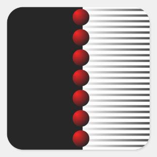 Extracto blanco y gris negro rojo pegatina cuadrada