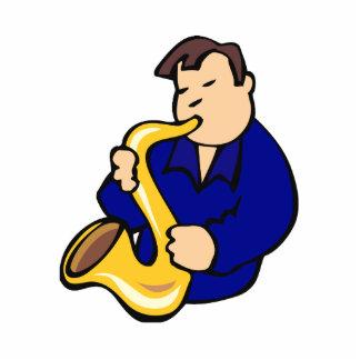 extracto blue.png del hombre del jugador de saxofó escultura fotografica