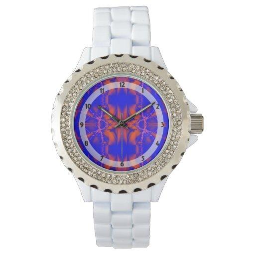 Extracto brillante del rojo azul relojes de pulsera