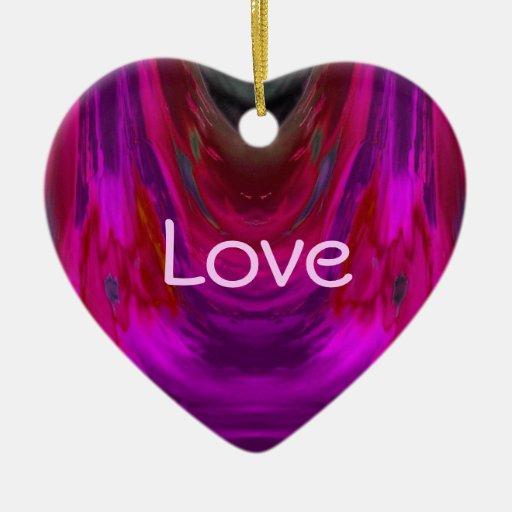 Extracto caliente de la aparición 2 en rojo y adorno navideño de cerámica en forma de corazón