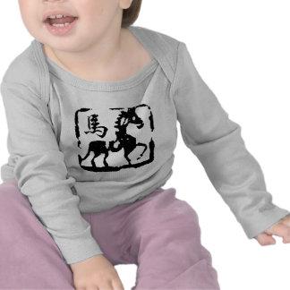 Extracto chino del caballo del zodiaco camisetas