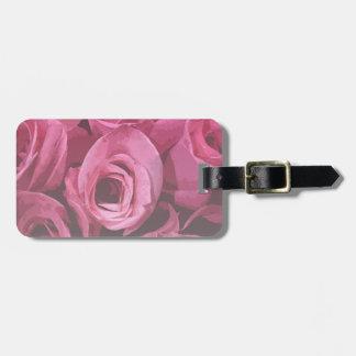 Extracto color de rosa etiquetas de maletas