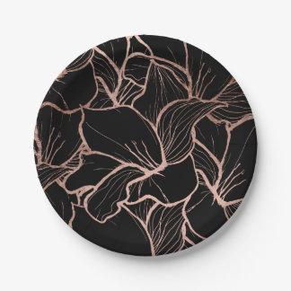 Extracto color de rosa moderno del oro floral en plato de papel de 7 pulgadas