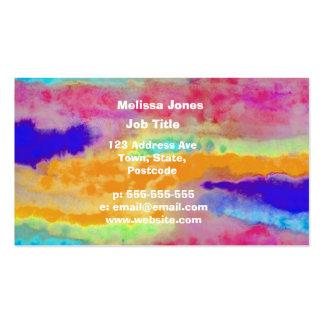 Extracto colorido de la acuarela tarjetas de visita