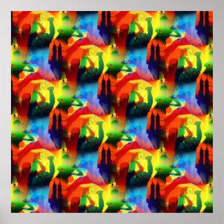 Extracto colorido de la ciudad de la música del ar poster