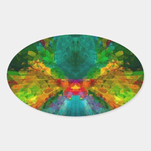 Extracto colorido de la energía de Big Bang 4 Pegatina Ovalada