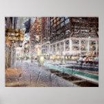 Extracto colorido del día lluvioso NYC Impresiones