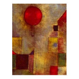 Extracto colorido del globo rojo de Paul Klee Tarjetas Postales