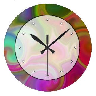 Extracto colorido del remolino reloj redondo grande