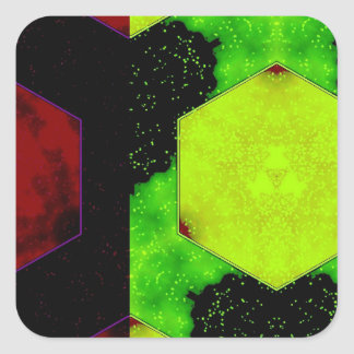 Extracto colorido pegatina cuadrada
