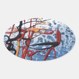 Extracto colorido pegatina ovalada