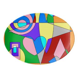 Extracto colorido retro badeja de porcelana