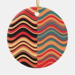 Extracto colorido retro de la onda del arte adorno redondo de cerámica