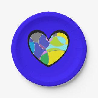 Extracto colorido retro del corazón plato de papel de 7 pulgadas