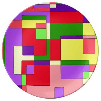 Extracto colorido retro plato de cerámica