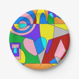 Extracto colorido retro plato de papel de 7 pulgadas
