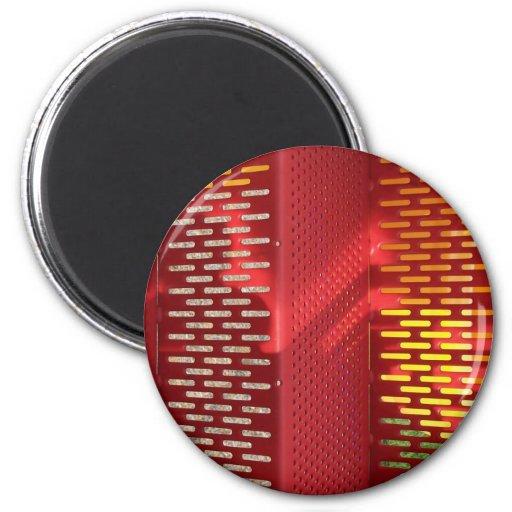 Extracto de acero rojo y amarillo descolorado de l imán redondo 5 cm