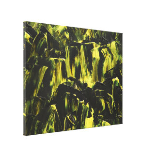 Extracto de acrílico amarillo y negro impresión de lienzo