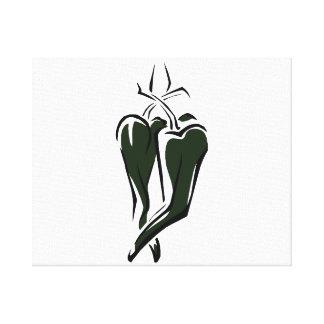 Extracto de baile de la pimienta de chile dos verd impresión en lona