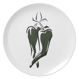 Extracto de baile de la pimienta de chile dos verd plato